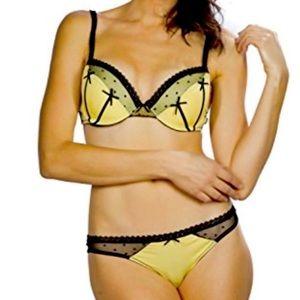 Sexy Yellow, Black Bra, Thong Panties Lingerie Set